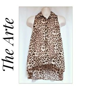 Cheetah Print Sheer High-Lo Top Size Large